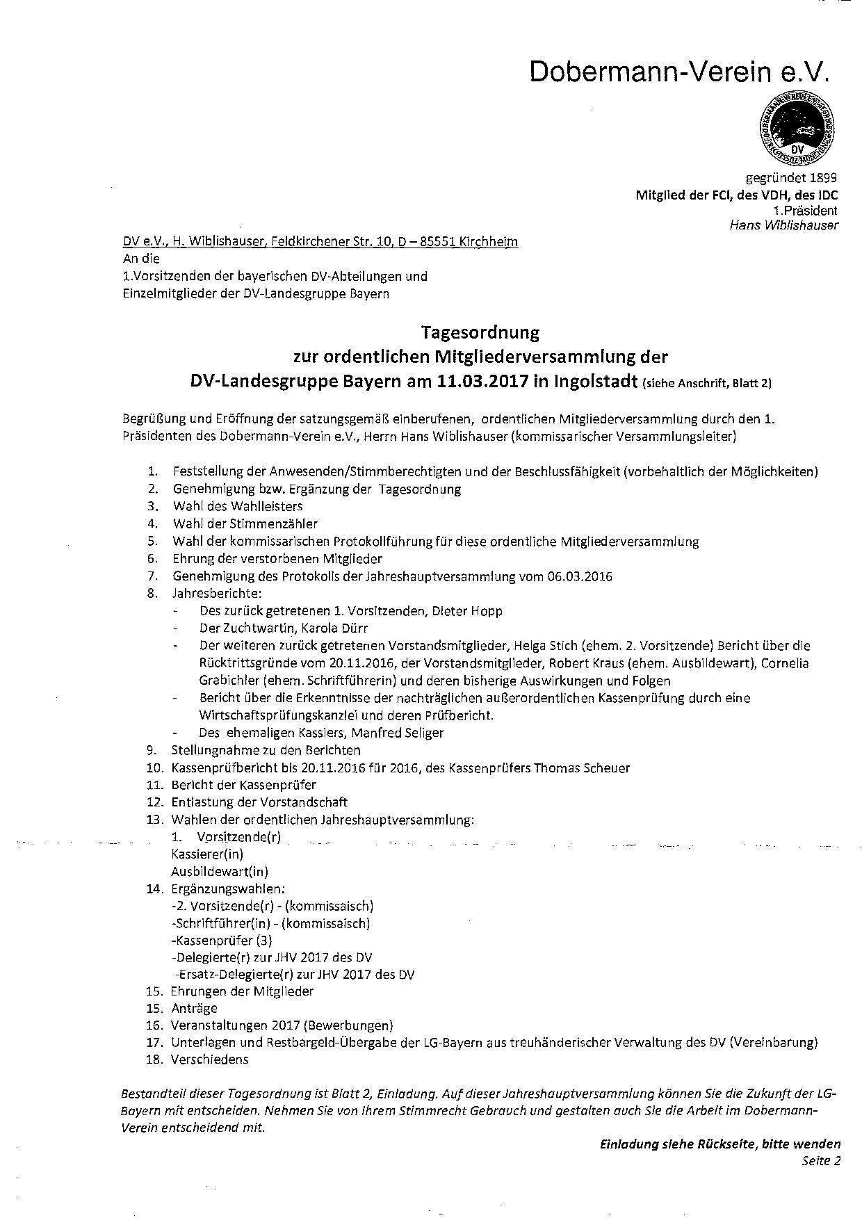 dobermannverein e.v. abteilung franken - ordentliche, Einladung